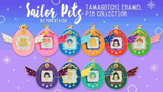 Sailor Pets Tamagotchi Enamel Pin Collection