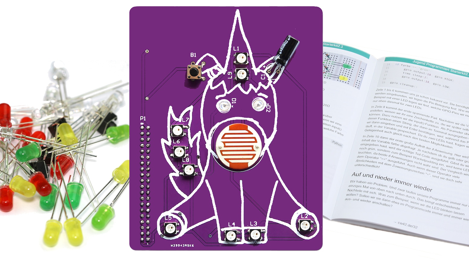 Coding Unicorn Shield, RGB LED Shield for Raspberry Pi & Arduino. Cuteness and style for your projects. Learn to code, book included.