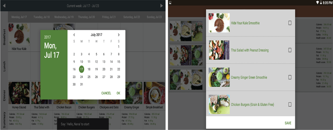 Based on your preference, you can select meals from calendar or Favorites.
