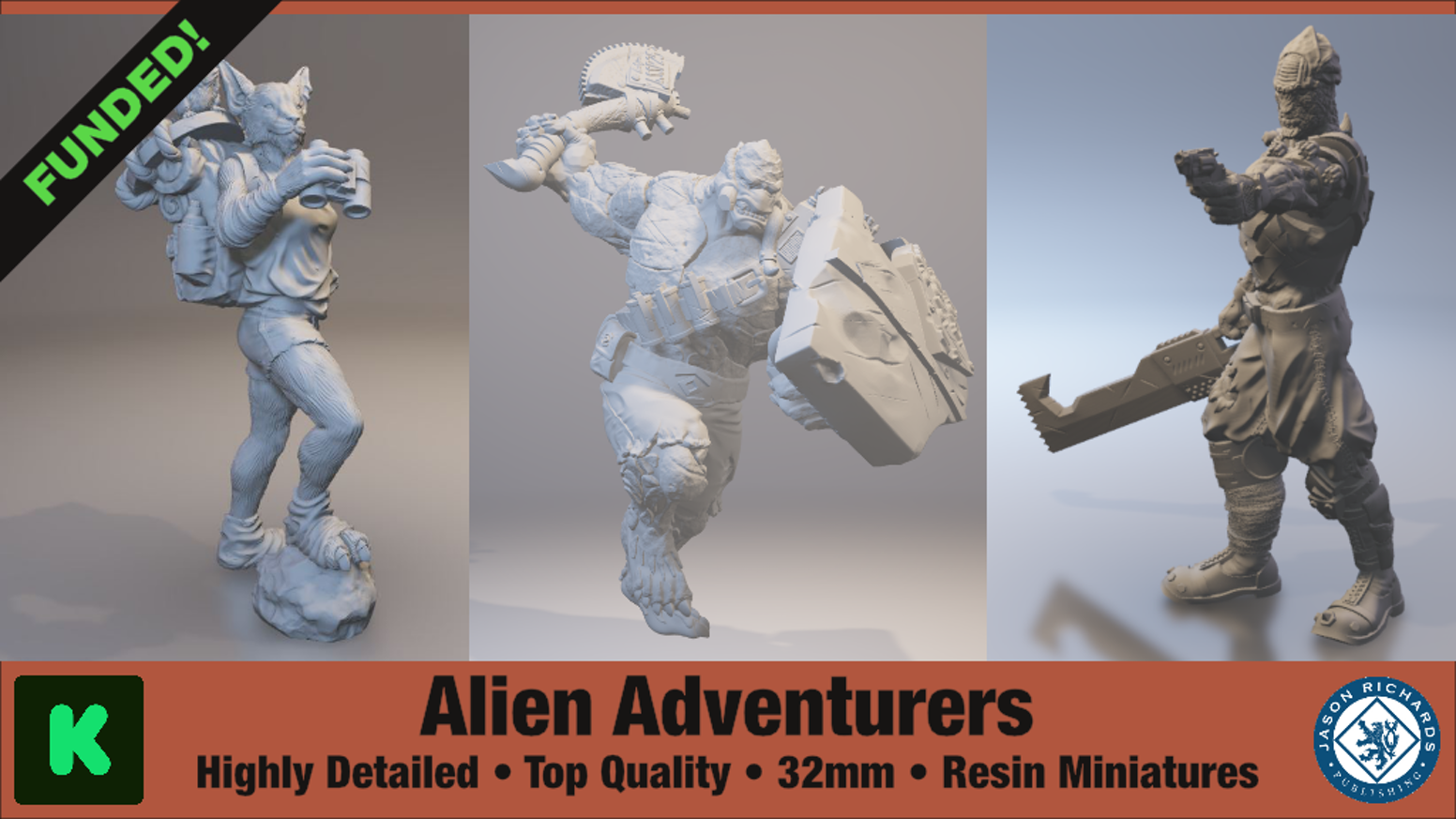 A collection of alien adventurer character minis. Cast in detailed 32 mm resin for tabletop gamers, collectors, and painters.