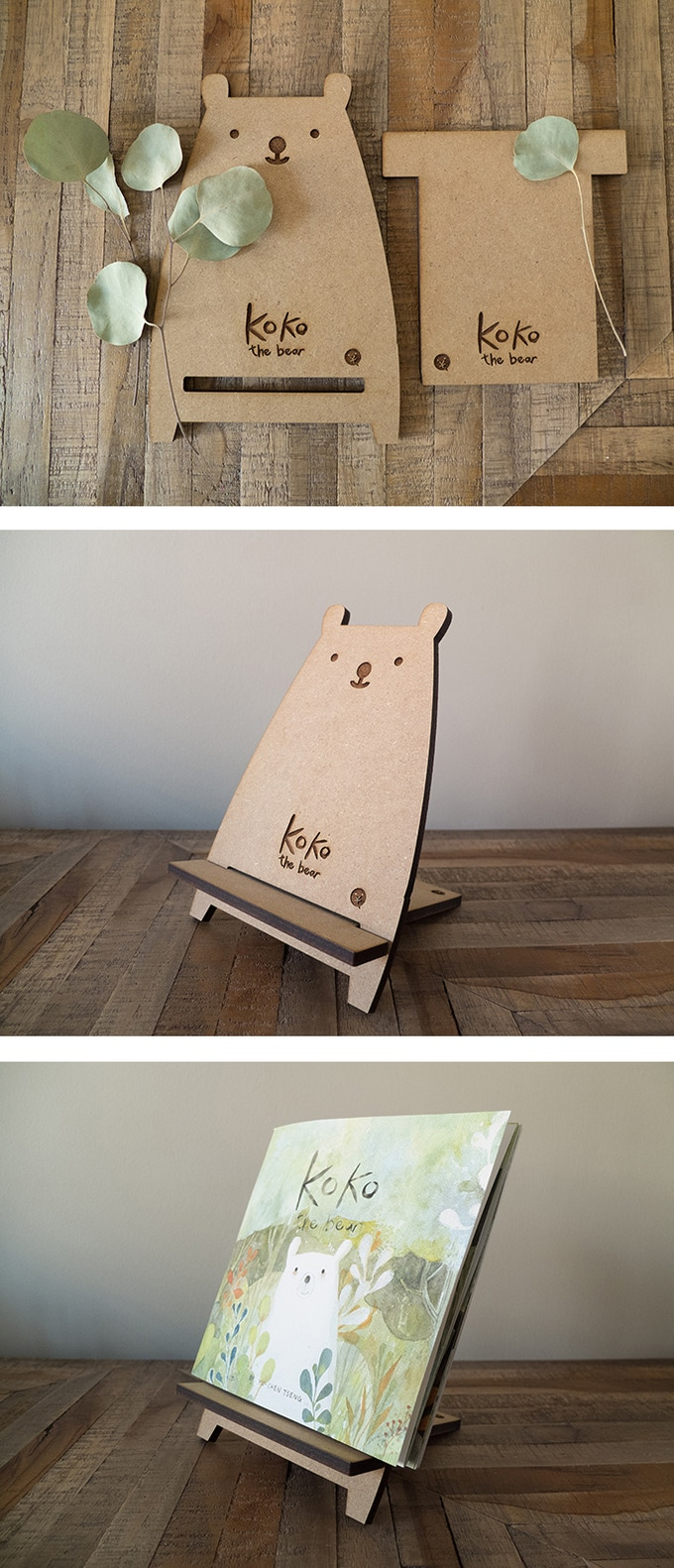 "5.5"" wide and 8.5"" tall MDF Bear Stand"