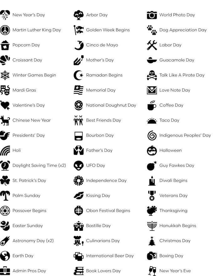 Unicalendar 2018: An Emoji-Inspired Letterpress Calendar