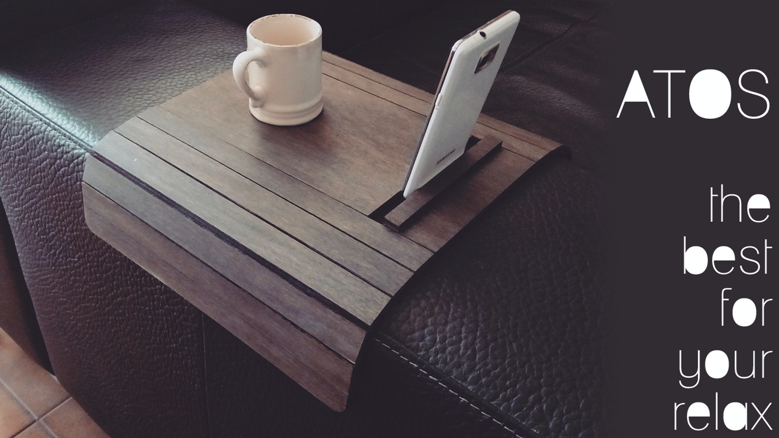 Atos Sofa Arm Rest Table With Phone And Tablet Stand By Alessio