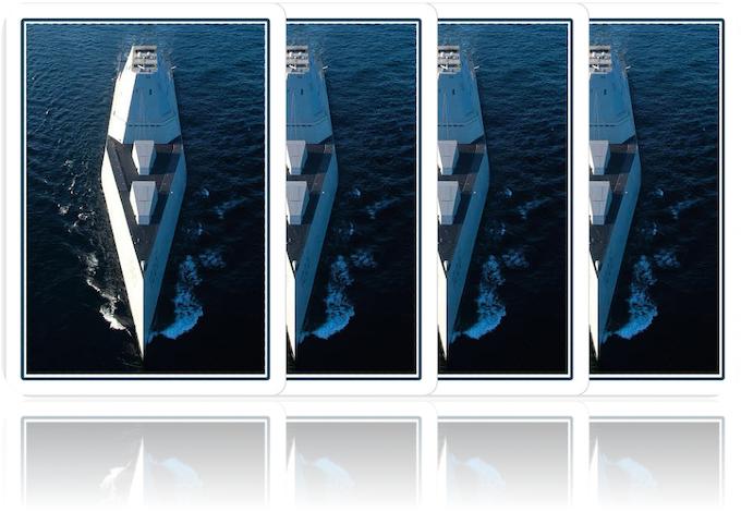 Playing card back design - US navy Zumwalt class destroyer