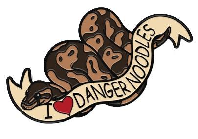 i love ball pythons or i love danger noodles soft enamel pin by nina