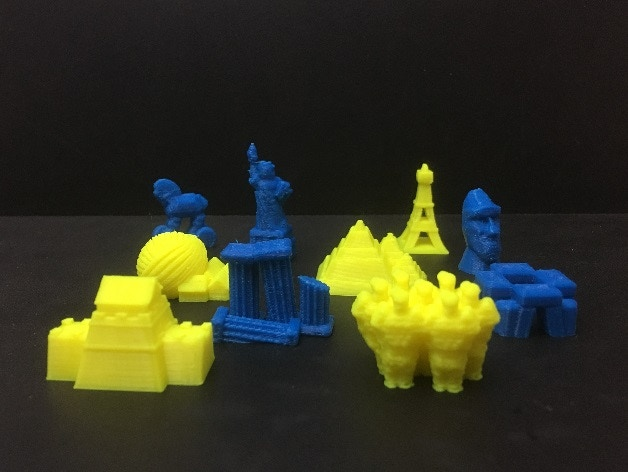 """3d-printed monument counters available at the """"Invader"""" pledge level. Also available on thingiverse.com"""
