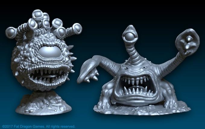 Digital render of the cyclopean-devourer and scum-beast miniatures (final design subject to change).