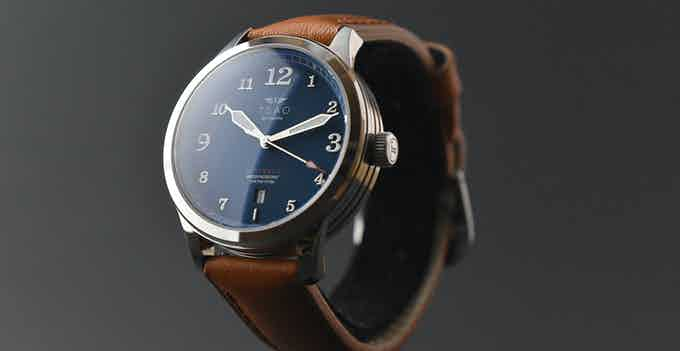 Silver Case / Blue Dial with the Saddle Aged Light Brown Strap