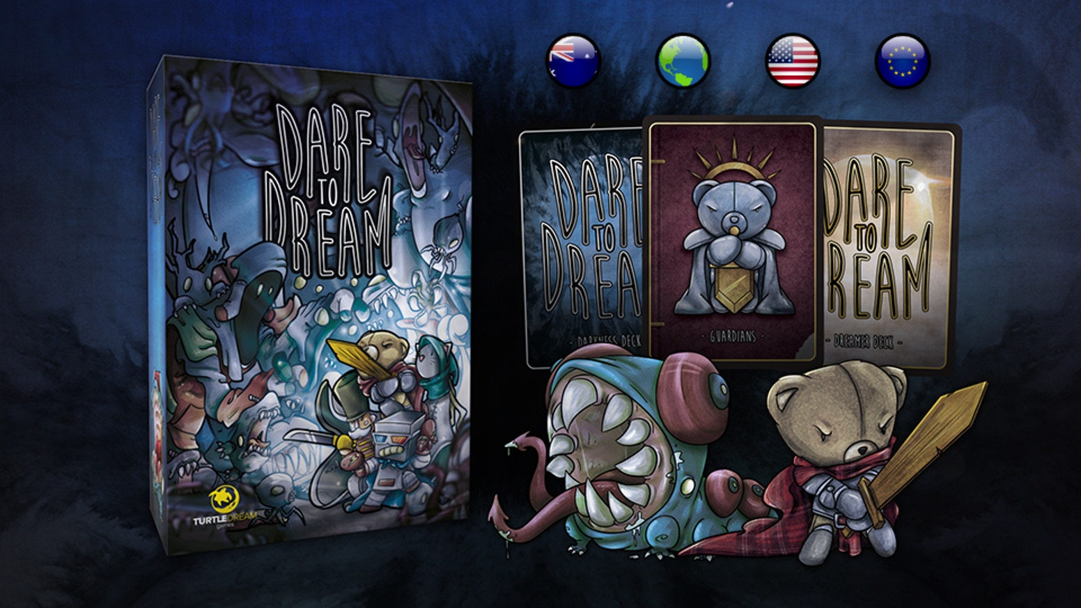 Team up to stave off The Darkness, or send waves of monsters at The Dreamers and let Darkness reign eternal! Card game for 2-4 players