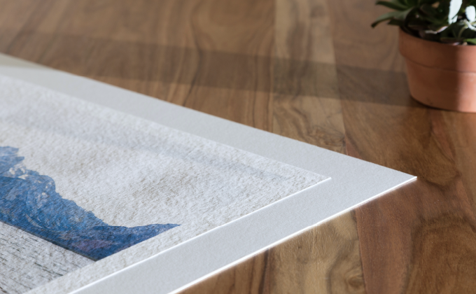 Each piece is printed on high quality textured paper and mounted on smooth matboard