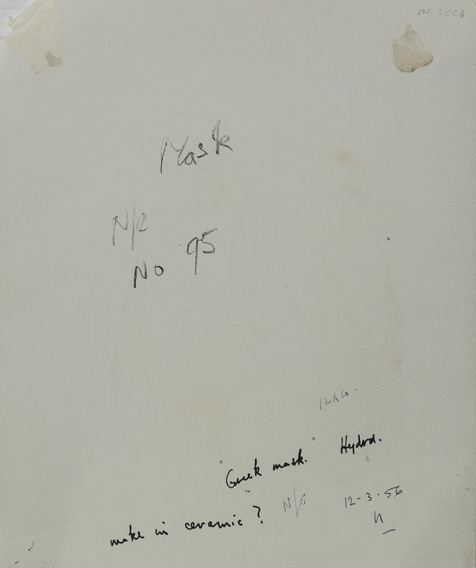 Reverse of untitled artwork from SIDNEY NOLAN: THE GREEK SERIES featuring notes on the artwork such as its size, potential title and number, date and location of production, and artistic ideas