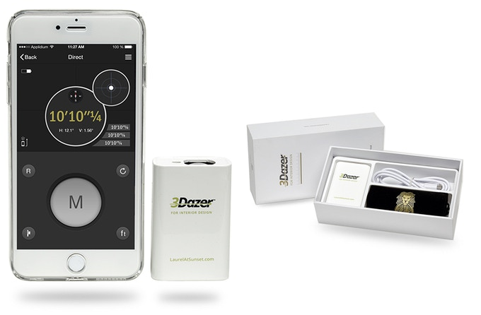 ios App and portable laser device with box contents: laser measurer, charging cord, carrying pouch and snap-on iPhone case
