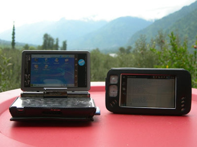 My trusted Sharp SL-C3000 and Nokia N800, both running GNU/Linux