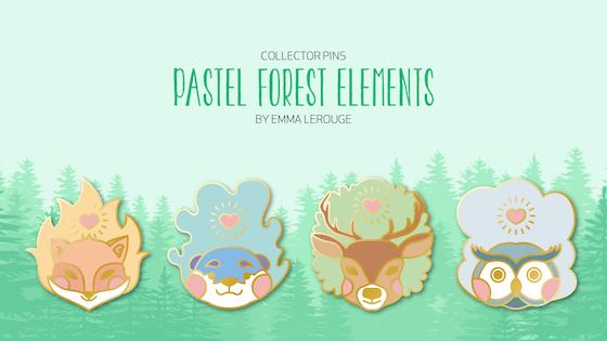 Pastel Forest Elements - Enamel Pins Collection