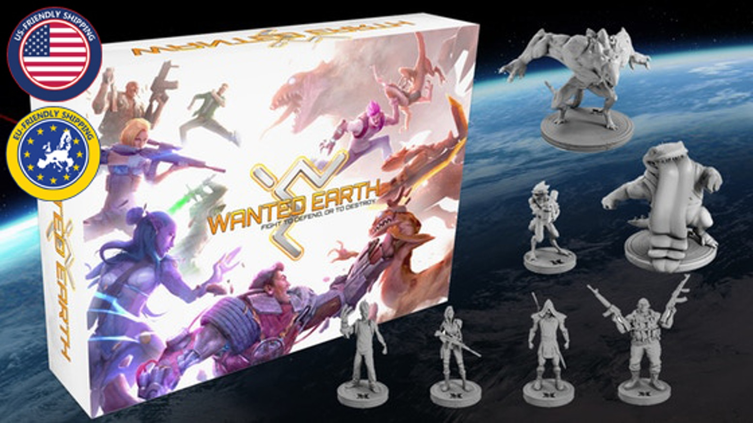 A board game for 1-7 players. Play as heroes defending Earth or aliens trying to take it over!  Co-op/PVP/single player. W/ comic book!