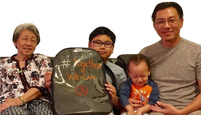 """Grandma (investor & advisor), Hien (the young inventor & head Doodler), Francis (2-year old in-house product tester/model),  AnhViet """"Charlie"""" (father & business manager)"""