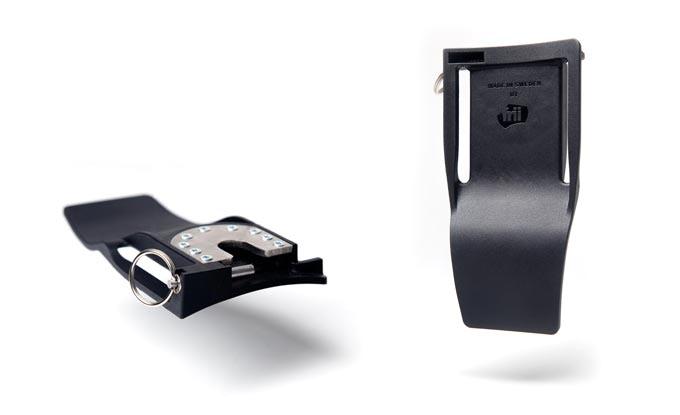 The belt clip securely fastens to your favorite belt