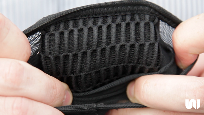 Internal 3D mesh lining allows the skin to breathe. Comes in three sizes: Small, Medium, and Large.