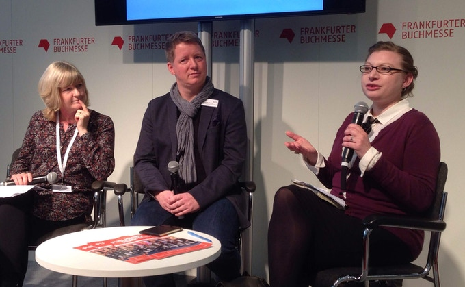 Ariana Paliobagis of the Country Bookshelf (right), in action at the 2016 Frankfurt International Book Fair