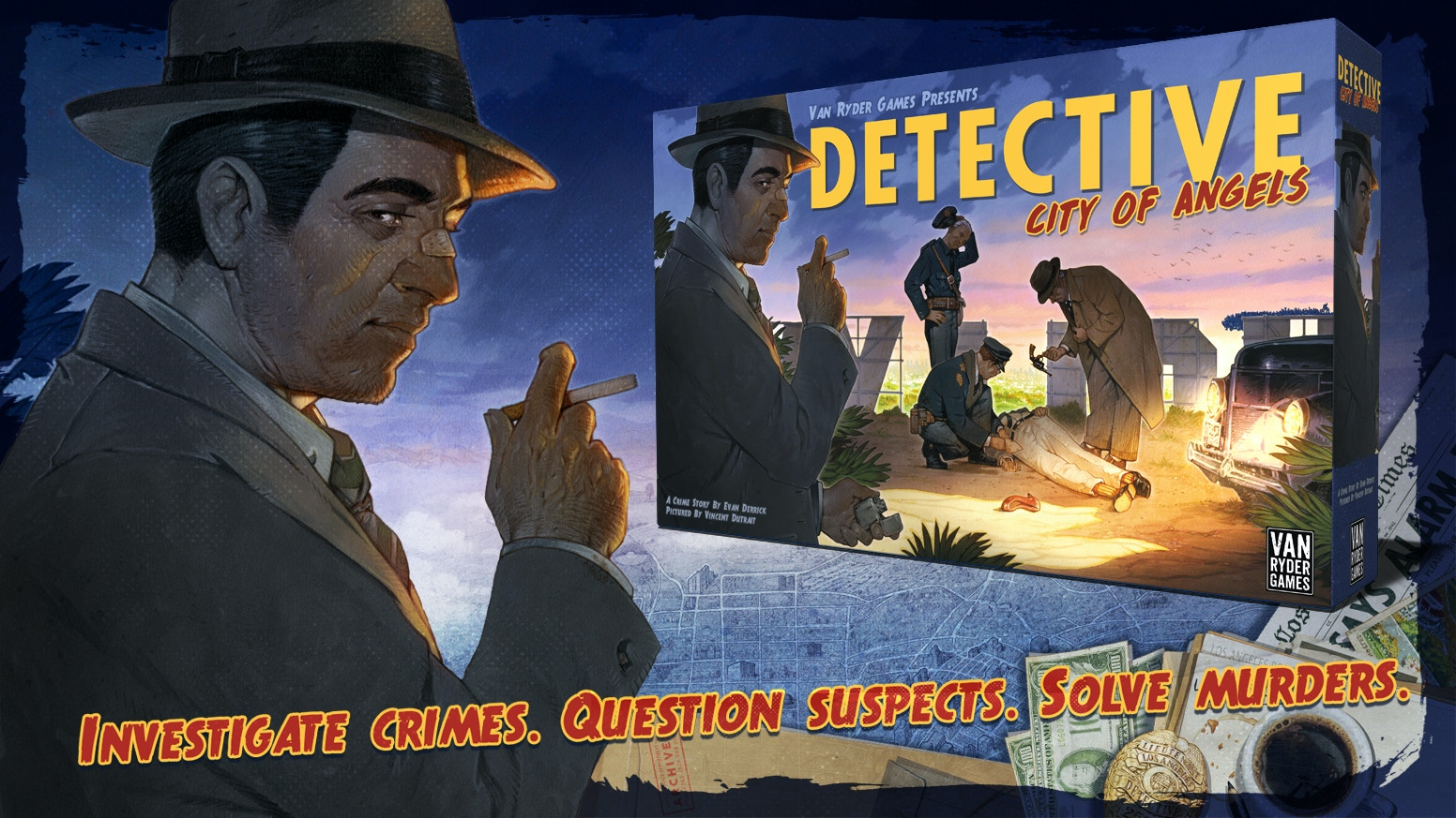 Detective: City of Angels is a board game where detectives solve mysteries in the dark and violent world of 1940's Los Angeles. Late pledge access is LIVE! Click the link below.