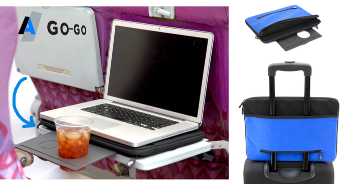 Laptop Computer, Tablet, Protection Sleeve with a Retractable Beverage Tray and zero spill Drink Holder. Upgrade today! Travel Friendly
