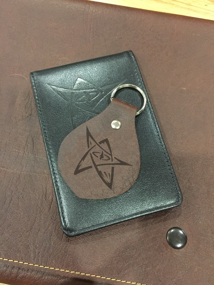 Embossed leather key fob