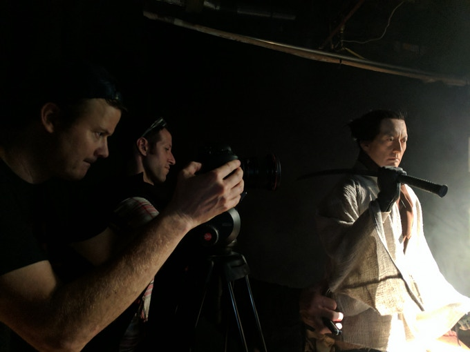 Director Kevin McTurk and Lead Puppeteer Eli Presser lining up the first camera test of the Samurai.