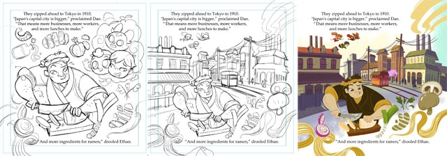 """This is a """"behind the scenes"""" sequence of page 9. Juan draws the rough draft, revises it, and then colors the page."""