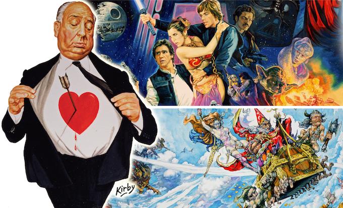 Josh's work on the 'Return of the Jedi' film poster (UK), Alfred Hitchcock's novel 'Murders I Fell in Love With' and Terry Pratchett's Discworld novel 'The Light Fantastic'