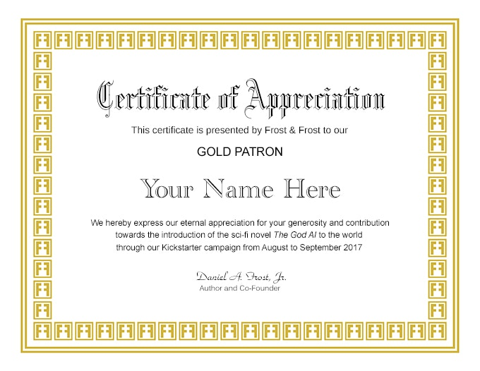 Personalized Certificate of Appreciation for The God AI Gold Patron