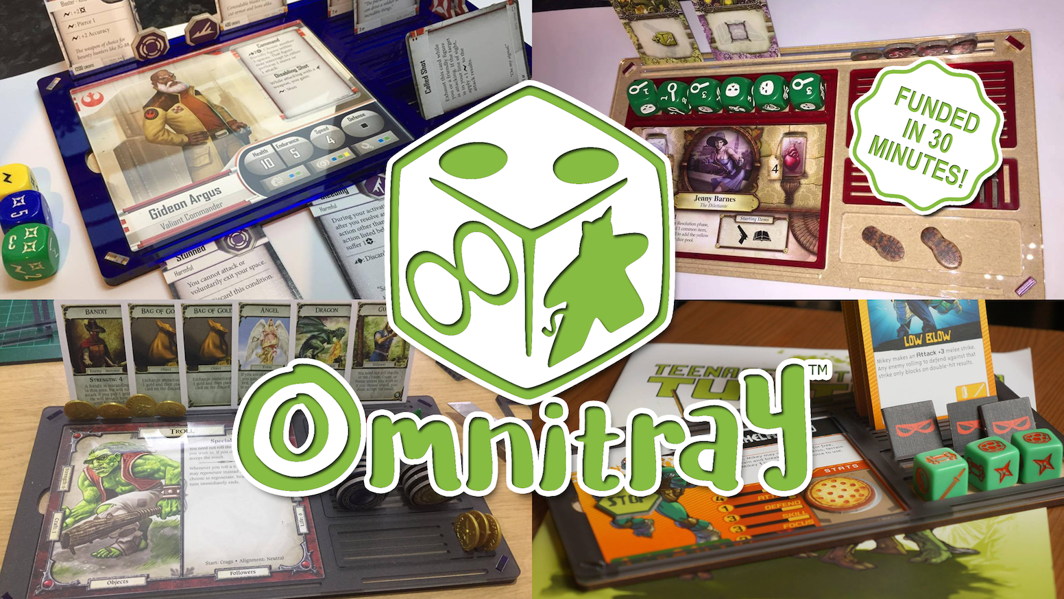 Omnitray is a fully customisable, modular board game and tabletop gaming player aid that assists you with a range of your gaming needs