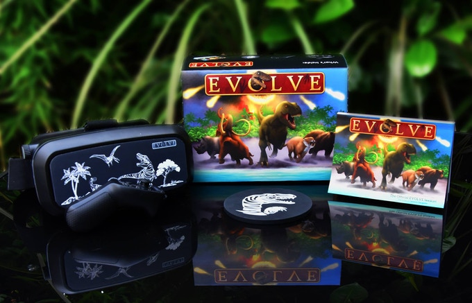 1x Evolve VR headset, 1x Evolve VR controller, 1x Evolve launch disc, 1x 100+ page full collour illustrated booklet, instructions to download the full Evolve game to your mobile!