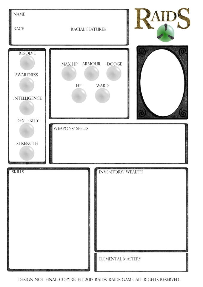 Raids character sheet