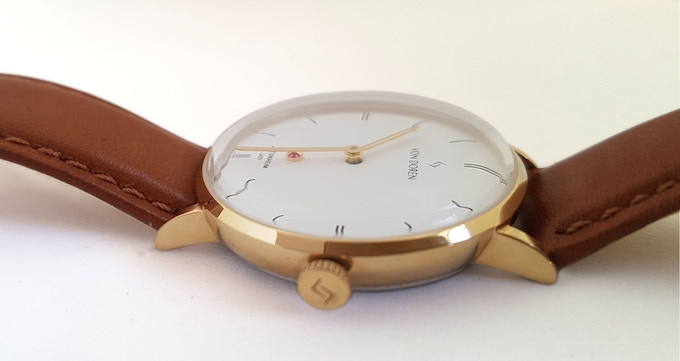 Snow White Dial - Yellow Gold case with Brown Leather Strap