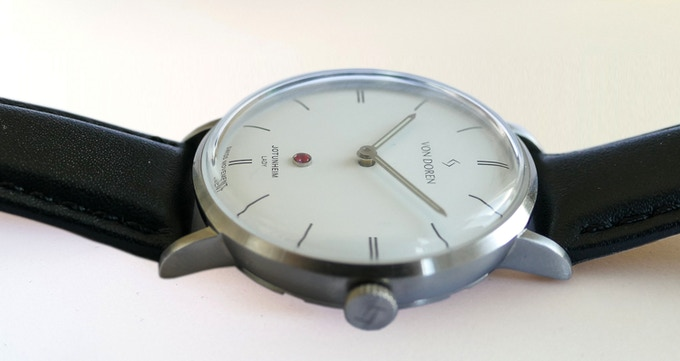 Frost White Dial Brushed Steel Case with Black Leather Strap