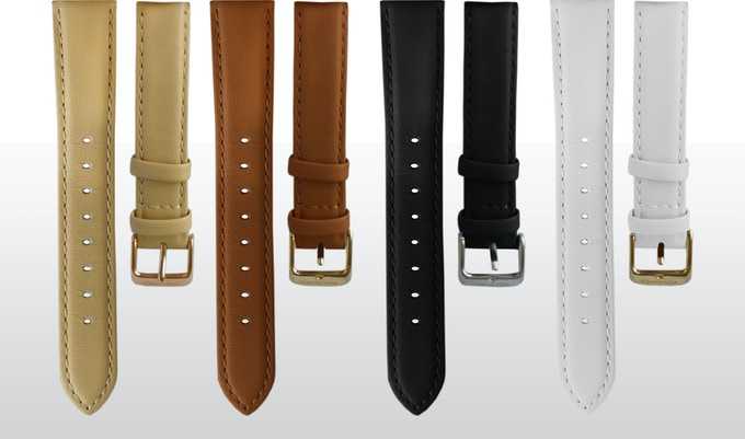 4 different interchangeable Italian leather straps available . Easy to change straps to match your outfit