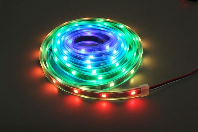 30 or 60 LED Per Meter Pixel Strip in IP67 Waterproof silicone casing.