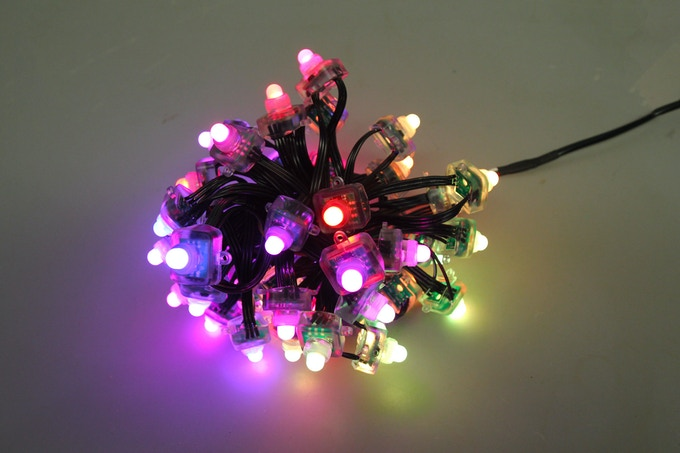 Flat 50 Pixel LED String with Black Wire and IP68 Waterproof rating.