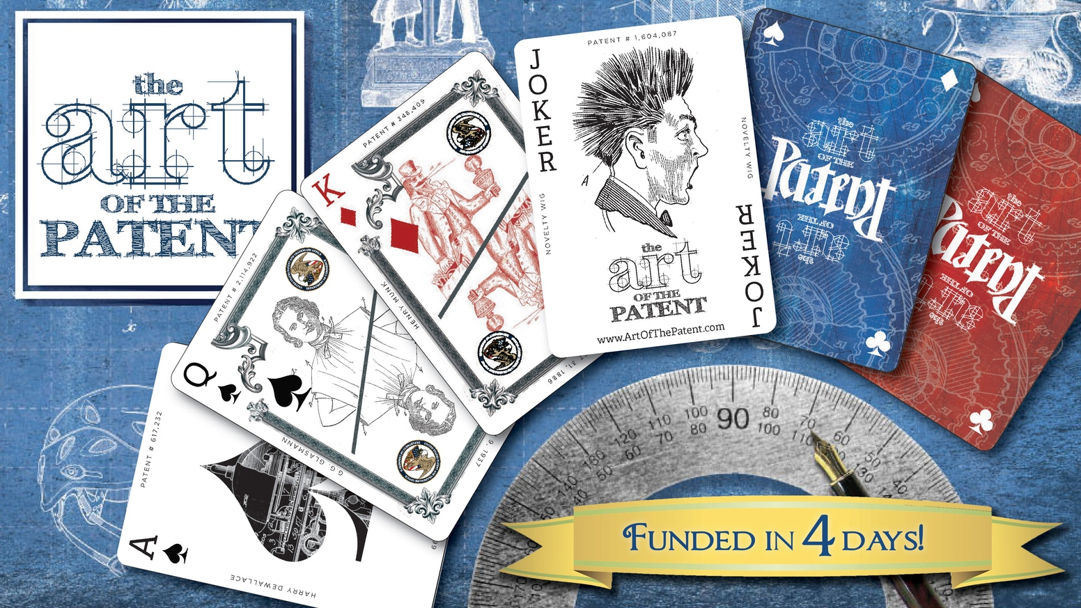 Success! Now taking pre-orders through BackerKit...Celebrate over 200 years of the most famous and bizarre patent artwork through playing cards! One line-art illustration per card.