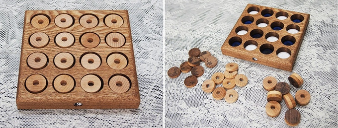 All pieces settle on the board perfectly. You can easily notice where discs are missing, to decide where to play. Pieces do not get stuck in the board.