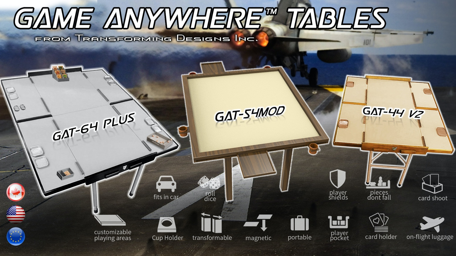 Game Anywhere GAT-64Plus is our largest portable gaming table the GAT-54MOD is able to add or reduce in size to fit your gaming needs.