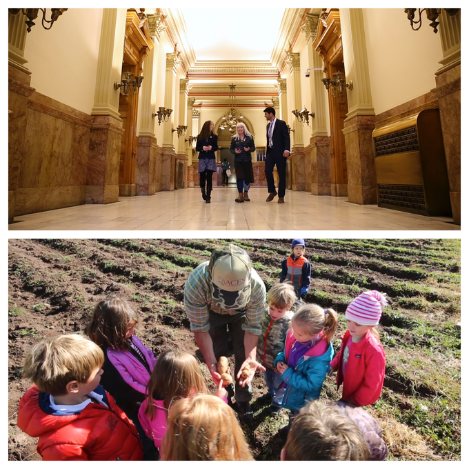 Diane Mitsch Bush + Farmers at Colorado State Capitol & Education for the youngest of all future farmers