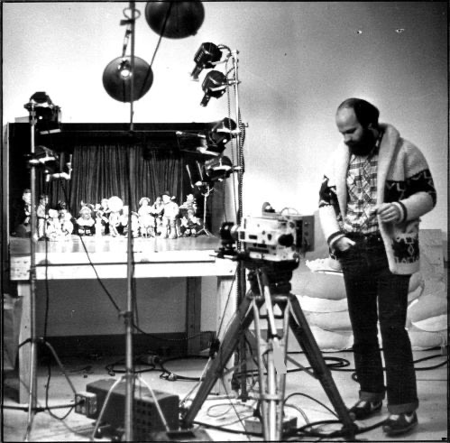 Will Vinton on set of an early Claymation film.