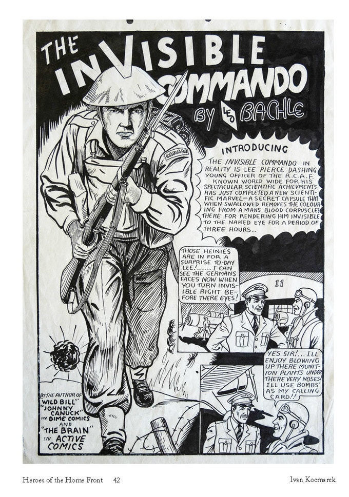 "Leo Bachle's original art page for the first appearance of ""The Invisible Commando"" in Commando Comics No. 1"