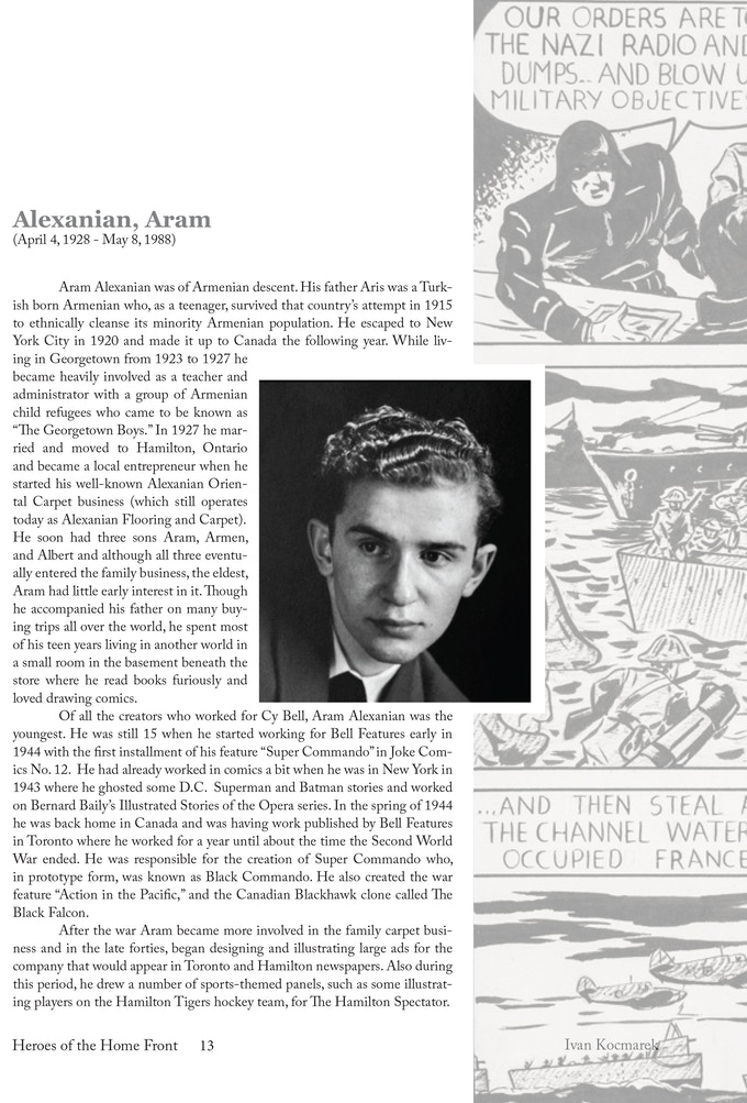 The lead-off page for the section on Aram Alexanian, who was the youngest artist working for Bell Features.