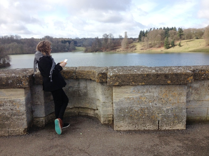Thea sketching in Blenheim Palace Gardens