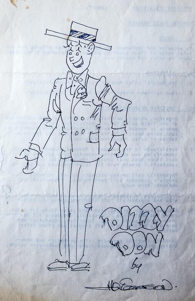 Original, signed Manny Easson sketch of Dizzy Don circa '70s.