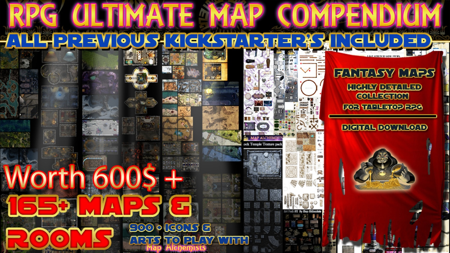 A RPG Map Compendium and an ultimate art set for tabletop games.Over 165 maps & rooms+ 900+ arts..all I ever did on K's and more.