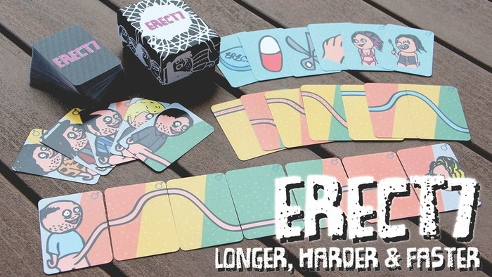 ERECT7 is fast & funny, race your opponent to build an erection and hit a money shot before they do! 106 full-color cards.