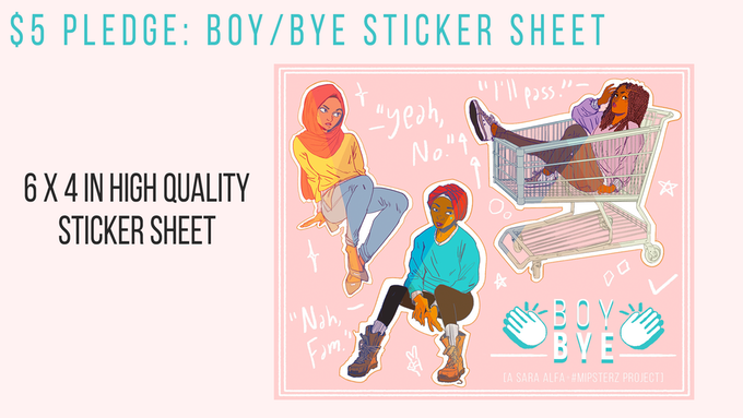 One kiss cut sticker sheet featuring the badass BOY/BYE women in their natural element. Looks dope on laptops, notebooks, the nearest scrub, and basically all surfaces in need of attitude.